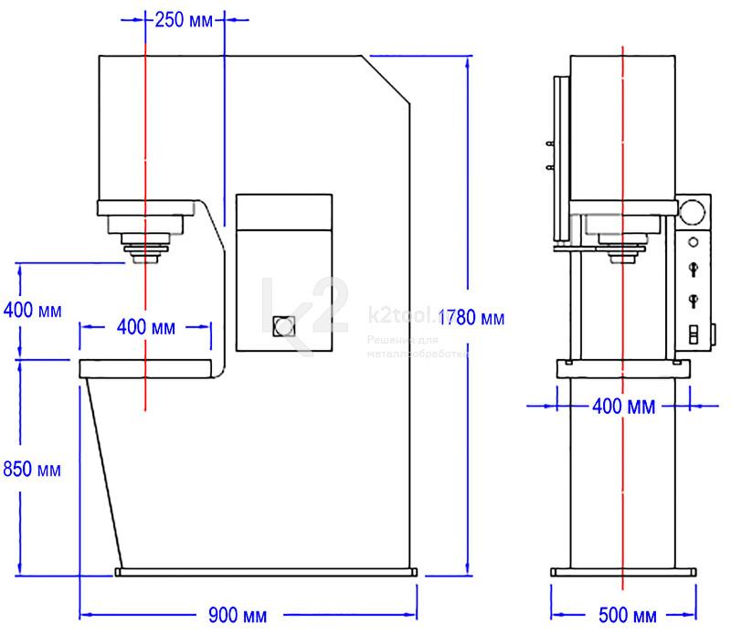 Гидравлический пресс с С-образной жесткой станиной RHTC CD-25 - схема