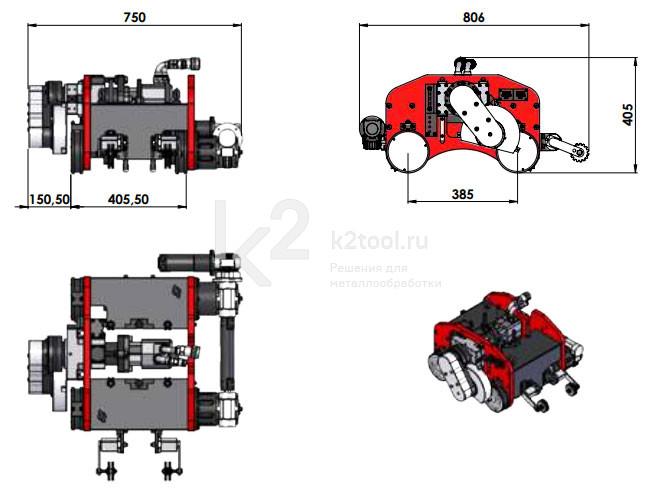 Габариты машины для холодной резки труб G.B.C. TAF