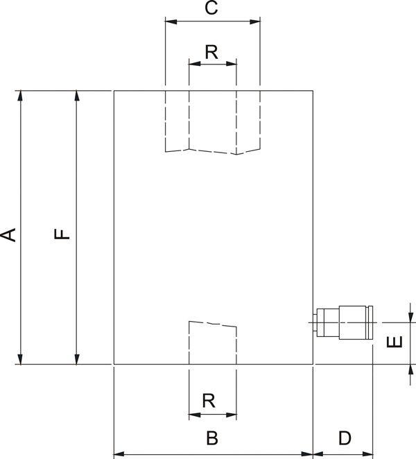 Домкраты с полым плунжером, пружинный возврат от 30 тонн (HHJ) - размеры