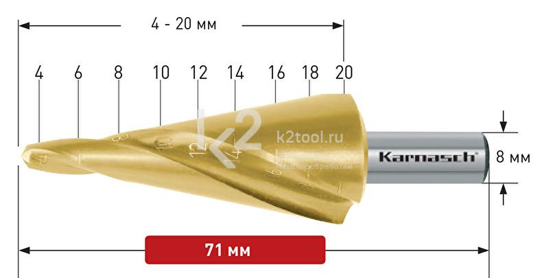 Конусное сверло со спиралью (2 зубца) с покрытием TiN-GOLD (2 зубца), Karnasch, арт. 20.1472