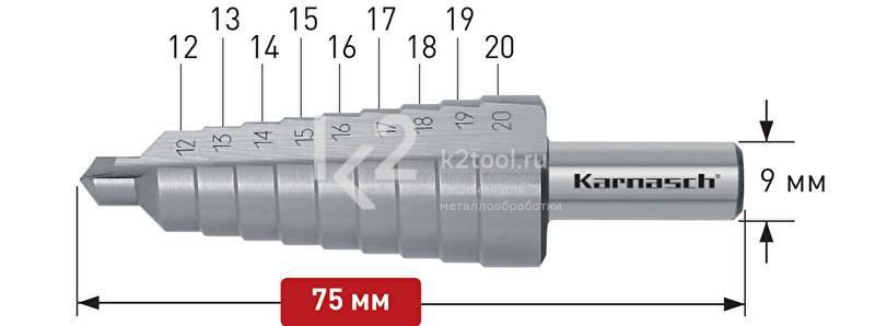 Ступенчатые сверла с прямой кромкой (2 зубца) Karnasch, арт. 21.3012