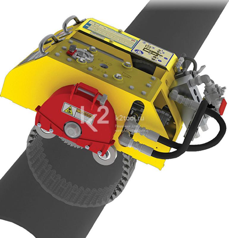 Портативный труборез и фаскосниматель Trav-L-Cutter. Крепление на трубе