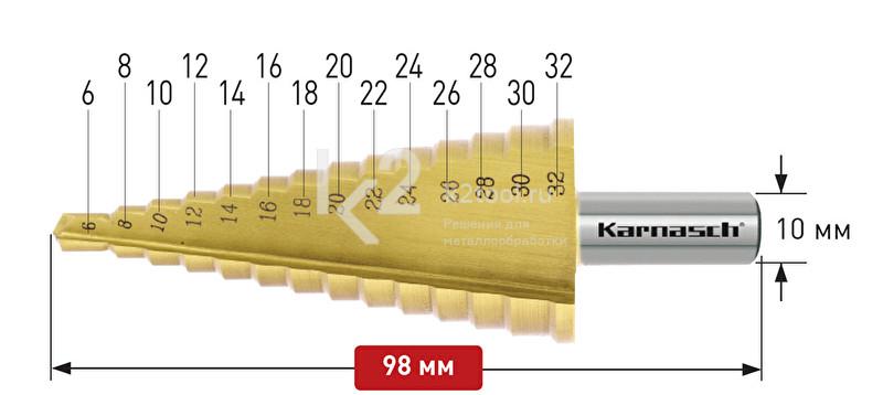 Ступенчатые сверла с прямой кромкой (2 зубца) Karnasch, арт. 21.3035