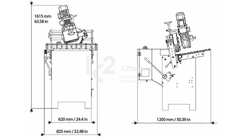 Габариты дополнительного стола с регулируемыми упорами для кромкореза NKO UZ-30, вид сбоку