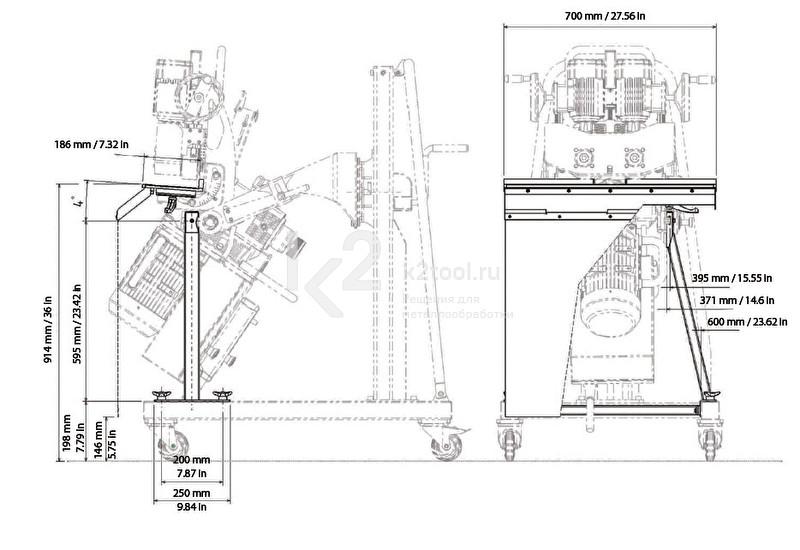 Габариты съемного стола для снятия фаски с мелких заготовок UZP-30