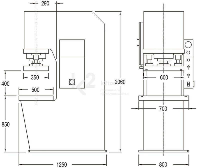 Гидравлический пресс с С-образной жесткой станиной RHTC PPCM-80 (CM-80) - схема