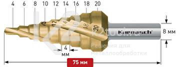 Ступенчатое сверло со спиралью с покрытием TiN-GOLD (3 зубца), Karnasch, арт. 21.3002