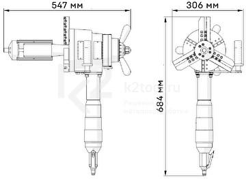 Машина для снятия фаски с труб ПРО 10 ПБ с пневматическим приводом - габариты