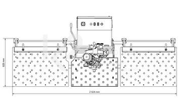 Габариты дополнительного стола с регулируемыми упорами для кромкореза NKO UZ-30, вид сверху