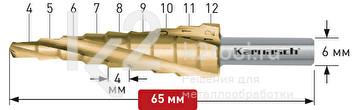 Ступенчатое сверло Ø4-12 мм, HSS-XE с покрытием TiN-GOLD (3 зубца), Karnasch, арт. 21.3001