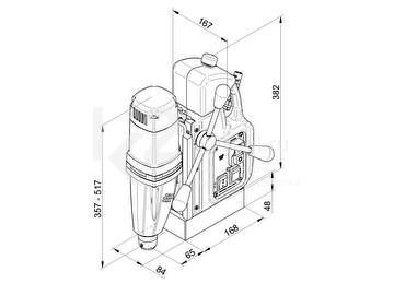 Схема размеров станка на магнитном основании BDS MAB 465