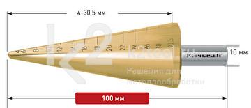 Коническое сверло Ø4-30,5 мм, HSS-XE с покрытием TiN-GOLD, Karnasch, арт. 21.3015