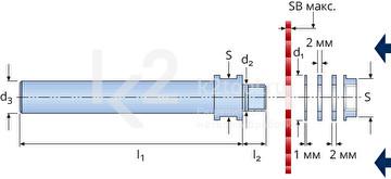 Габариты держателя пильных дисков и отрезных фрез Karnasch, передняя затяжка, арт. 5.6100