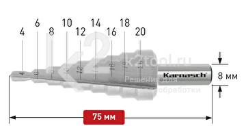 Ступенчатые сверла с прямой кромкой (2 зубца) Karnasch, арт. 21.3031