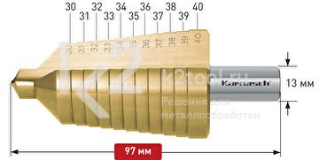 Ступенчатое сверло с прямой кромкой (2 зубца) Karnasch, арт. 21.3011